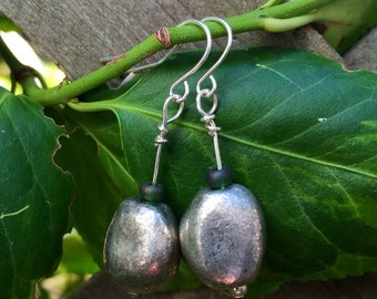 Green Accented Silver Earrings