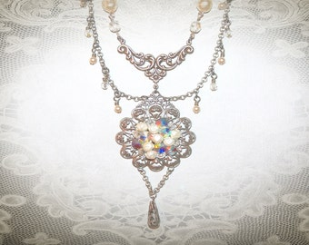 Bridal Necklace. Upcycled-Assemblage-Repurposed Jewelry. Wedding Jewelry. OOAK Necklace. Something New Something Old