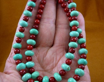 21 inch long 10x6 mm Chinese turquoise and red bamboo Coral gemstone Beads bead beaded Necklace jewelry V326-123