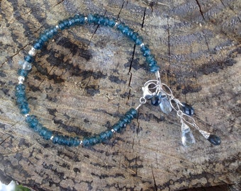 Genuine London Blue Topaz, Swiss Blue Topaz and Sterling Silver Gemstone Birthstone Bracelet