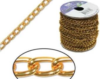 Aluminum Curb Chain Tangerine 6 X 3.6MM Wide 20 Ft Roll SALE