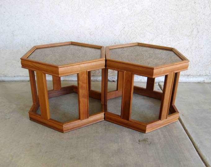 Featured listing image: Vintage Mid Century Pair of Occasional Tables by John Keal for Brown Saltman. Circa 1960's.