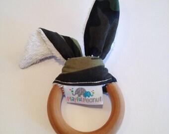Natural Bunny Teething Ring   Teether   Bunny Ears   Teething Ring   Camo Fabric