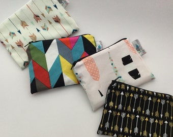 Reusable Snack Bag, Reusable Zipper Bag, Reusable Sandwich Bag, Zipper Pouch, Reusable, Arrow Snack Bag, Lunch Bag, Reusable Bag, Feather