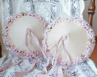 Two Identical Vintage Hats / Bonnets / Wedding Hats, Ivory / Cream, Light Pink Apple Blossom / Blossoms, Pink Velvet Ribbon, Lace, Props