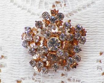 Vintage Star Shaped Floral Rhinestone Brooch / Pin / Broach, Gold Tone Metal, Clear Rhinestones, Small Flowers, Bride / Bridal, Star
