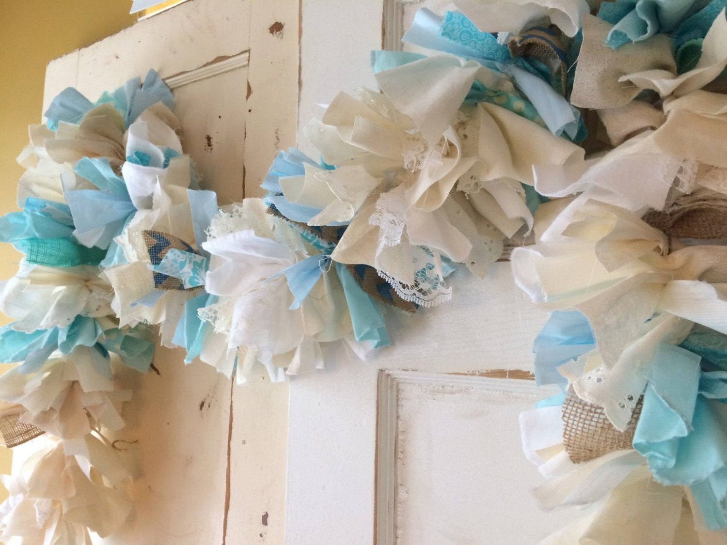 blue baby shower party decoration burlap shower garland