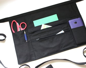 black half apron - teacher apron - utility apron - two zipper pockets - money apron - vendor apron - black work apron with lots of pockets
