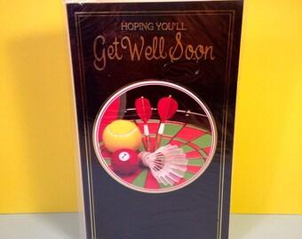 Get Well Soon - Vintage Get Well Soon Card - Greeting Card - Sport - Darts - Badminton - Tennis