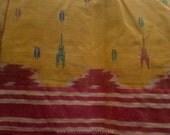 Ikat Cotton Saree Fabric By The Yard, Yellow Red Blue Sari Fabric, Handloom Sari Fabrics, Ikat Print Fabrics, Indian Handmade Fabrics