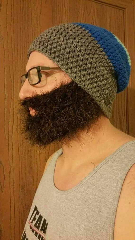 Slouchy Ski Bearded Beanie, Slouch Beard Beanie, Men's Ski Bearded Beanie, Men's Fuzzy Beard, Men's Slouch Hat, Men's Slouch Beanie