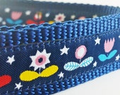 Modern Blooms at Night - Dog Collar / Handmade / Adjustable / Flowers / Pet Lover / Gift Idea / Large Dog