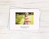 XO Hugs and Kisses Pink Valentine's Day Custom Photo Holiday Card