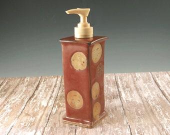 Ceramic Liquid Soap Dispenser - Pottery Soap Pump Red and Beige - 778