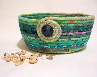 Ocean Reef Coiled Fabric Bowl