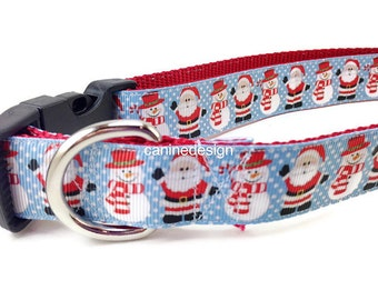 Christmas Dog Collar, Santa Snowmen,1 inch wide, adjustable, quick release, metal buckle, chain, martingale, hybrid, nylon