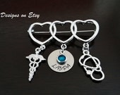 MD RN Caduceus Medical Stethoscope Handstamped Graduation Gift Personalized Birthstone Pin - Nurse Pin - RN Pin - Pinning Ceremony