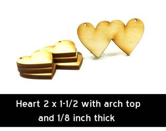 Unfinished Wood Heart Double - 2 inches by 1 inch and 1/8 inch thick with 2 holes wooden shape (HART02)