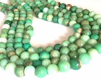 Chrysoprase round beads full 14inch strand shaded green Australian chrysoprase