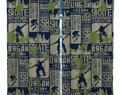 Custom Window Curtain or Valance, Skateboard Gen X Theme - Any Size - Any Colors - Shown Navy, Khaki, Lt Olive