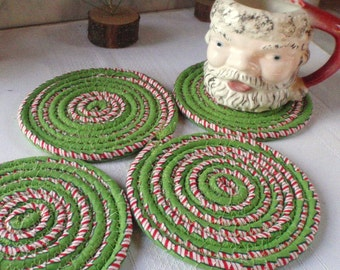 Peppermint Swirl Coiled Fabric Coasters - Set of 4, Handmade By Me