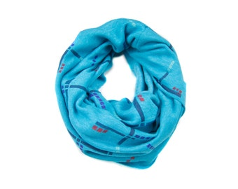 PDX Carpet Infinity Scarf - Hand Printed Sweatshirt Fleece Circle Scarf in Heather Turquoise Navy Purple and Red