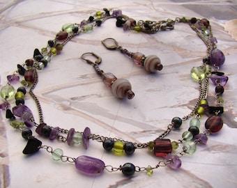 Vintage Glass Stone Necklace 3 Strands of Shades of Purple Amethyst Pretty Green Glass Beads PLUS Bonus :)