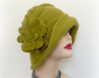 Cloche Hat - Winter Hat - Couture Hat - Formal Hat - Chemo Hat - Hat with Flower - 1920s Hat - Fabric Hat - Sewn Hat - Handmade Hats USA