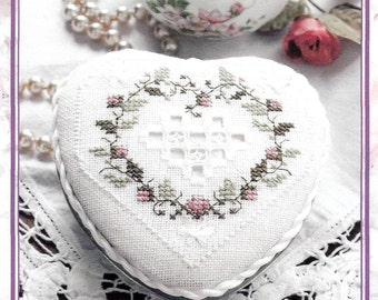 Lorri Birmingham Designs Cross Stitch Kit, Hardanger Cross Tin, Heart Shaped Cover for Heart-Shaped Altoids Tin, Valentine Gift, 2003