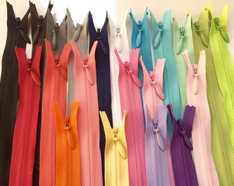 Sale, 26 Inch invisible YKK zippers, 21 zippers in 21 colors, blue, apple, lime, mint, pink, red, coral, purple, orange, match minky fabrics