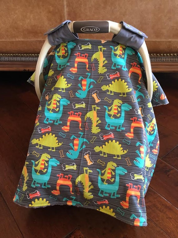 baby car seat covers dino dudes in gray with gray minky. Black Bedroom Furniture Sets. Home Design Ideas