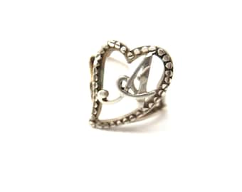 Sweetheart Sterling Silver 925 Heart Focal & Script Initial A Adjustable Sized Vintage Ring