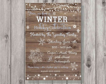 Digital Wooden Winter Snowflakes & Lights Holiday Party Invitation Personalized Printable Any accent color