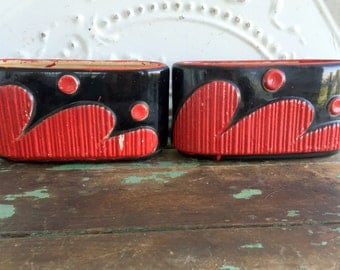 Vintage Mid Century  pair of Planters Red and black Abstract and chippy