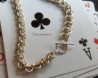 Barrel Weave Chainmaille Bracelet, Sterling Silver Bracelet