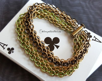 Steampunk Brass Chainmaille Bracelet, Dragonscale Weave