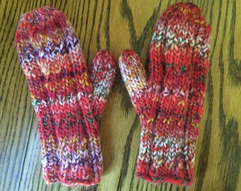 Hand Knit Mittens Bulky Wool Woman's Mittens Free US Shipping
