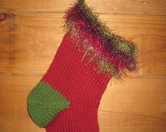 Hand Knit Christmas Stocking Chunky Wool With Fun Fur Top 19 Inches Free US Shipping!