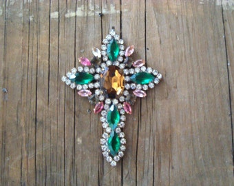 Vintage Czech Crystal Rhinestone Cross Pendant Signed Bijoux MG