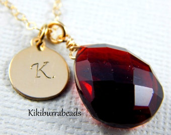 Garnet Necklace, January Birthstone Necklace, Personalized Initial Necklace