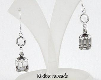Swarovski Crystal Vintage Inspired Earrings, Sterling Silver Earrings