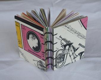 Upcycled handbound journal book or sketchbook