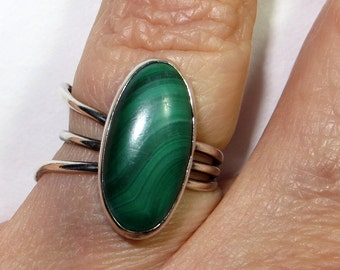 Modernist Green Malachite Ring Sterling Silver Size 7