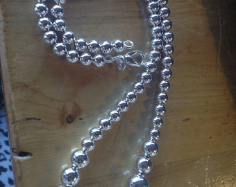 Spring Bling Graduated Silver Bead Necklace