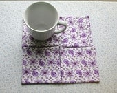 marked down was 9 now 6 purple paisley flowers set of mug rugs
