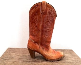 vintage 70s boho ACME leather WESTERN heel boots - 7 us, 37 eur