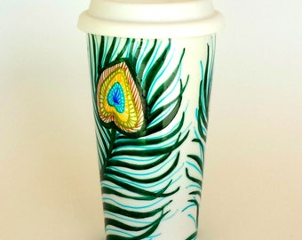 Ceramic Travel Mug Peacock Feathers Painted 16oz Tumbler Porcelain Coffee to-go cup Teal Green Turquoise - MADE TO ORDER
