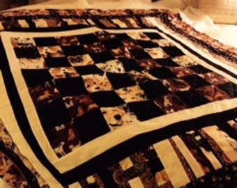 Scrap throw quilt featuring dogs