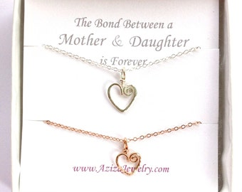 Mother Daughter Heart Necklaces. Gold and Silver Heart Necklaces. Two Hearts Pendant Gift Set. Mommy Jewelry. New Mom Jewelry. Push Present