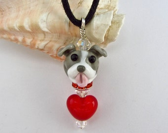 Pit Bull Lover Necklace - Lampwork SRA